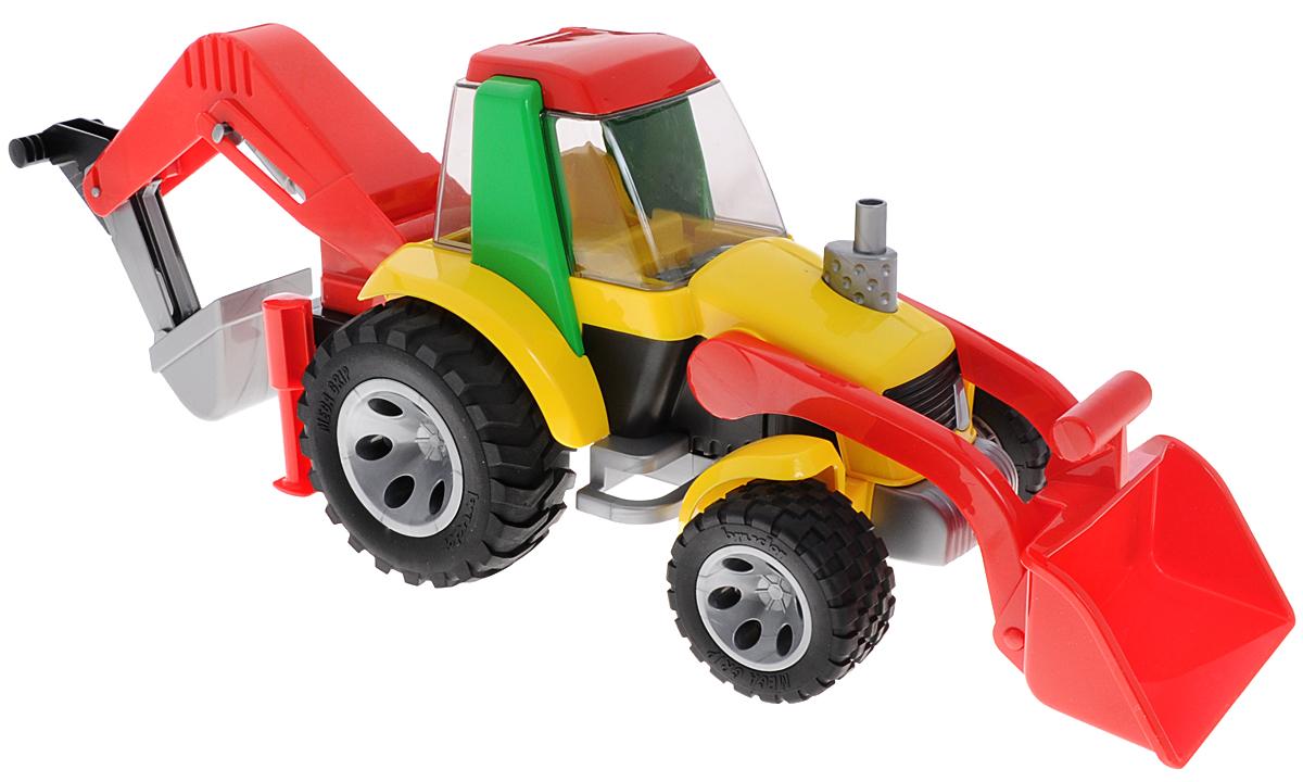 """Яркий экскаватор-погрузчик """"Roadmax"""" обязательно понравится вашему малышу и займет его внимание надолго. Экскаватор оснащен двумя опускающимися и поднимающимися ковшами для выгрузки песка или других предметов, открывающейся кабиной, большими прорезиненными колесами и двумя опорами, предназначенными для более устойчивой работы на месте. Ваш маленький строитель часами будет играть с таким экскаватором-погрузчиком, придумывая различные истории. Порадуйте его таким замечательным подарком!"""