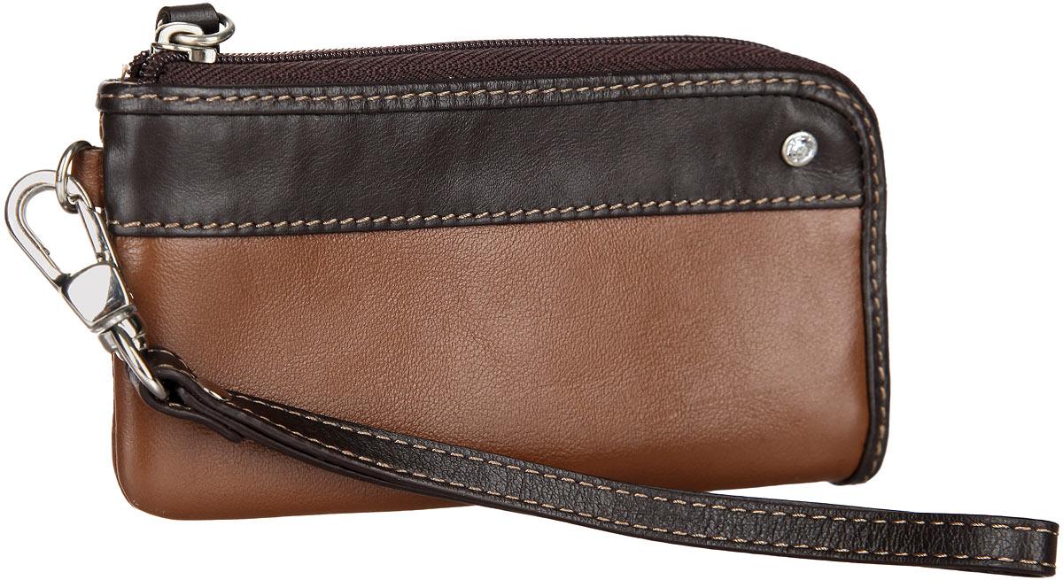 Ключница Leo Ventoni, цвет: коричневый, темно-коричневый. L330210-06Серьги с подвескамиСтильная ключница Leo Ventoni выполнена из натуральной кожи. Лицевая сторона изделия оформлена сияющим кристаллом.Изделие застегивается на застежку-молнию. Внутри расположено кольцо для ключей и накладной кармашек. Снаружи, в задней стенке изделия, расположен прорезной карман на застежке-молнии. Изделие оснащено съемным ремешком с карабином.Оригинальная ключница Leo Ventoni станет отличным подарком для человека, ценящего качественные и практичные вещи.
