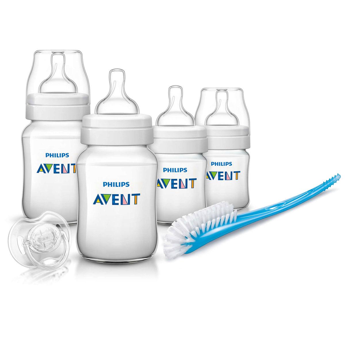 Philips Avent Набор для кормления Classic от 0 месяцев 6 предметов115510В набор для кормления Philips Avent входят 6 предметов - ершик для бутылочек и сосок, пустышка, 4 бутылочки для кормления.Все компоненты выполнены из качественного и безопасного материала, не содержат бисфенол А. Бутылочки имеют широкое горлышко, эргономичный дизайн и антиколиковую систему, эффективность которой клинически доказана.Ершик для бутылочек и сосок станет незаменимым атрибутом ухода за детскими бутылочками. Ершик имеет особую изогнутую форму и литую ручку, поэтому с ее помощью можно чистить бутылочки и соски любых типов, а также другие принадлежности для кормления.Силиконовая пустышка сгибается в соответствии с ритмом кормления.