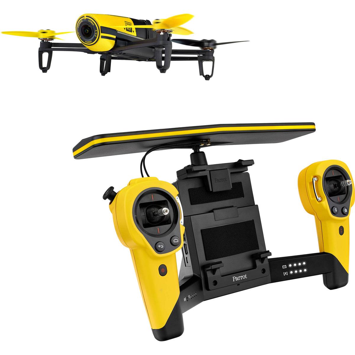 Parrot Квадрокоптер на радиоуправлении Bebop Drone + Skycontroller цвет желтый