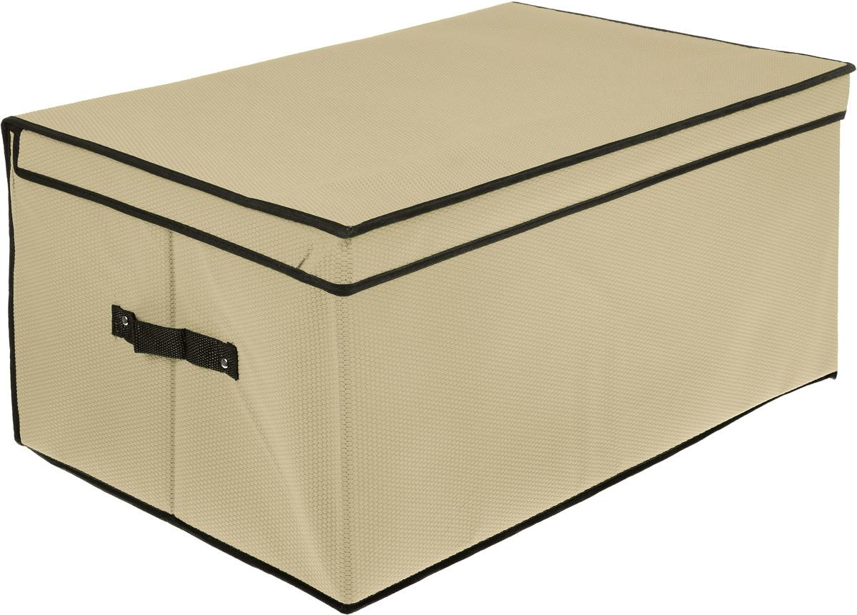 Кофр для хранения El Casa Соты, складной, цвет: бежевый, 60 x 40 x 30 см370028Компактный складной кофр El Casa Соты изготовлен из высококачественного нетканого материала, который обеспечивает естественную вентиляцию, позволяя воздуху проникать внутрь, но не пропускает пыль. Вставки из плотного картона хорошо держат форму. Кофр оснащен 2 удобными ручками, которые позволяют использовать его в качестве выдвижного ящика в гардеробе или шкафу. Изделие закрывается откидной крышкой. Оригинальный дизайн будет отлично смотреться в любом интерьере. Размер кофра (в собранном виде): 60 х 40 х 30 см.