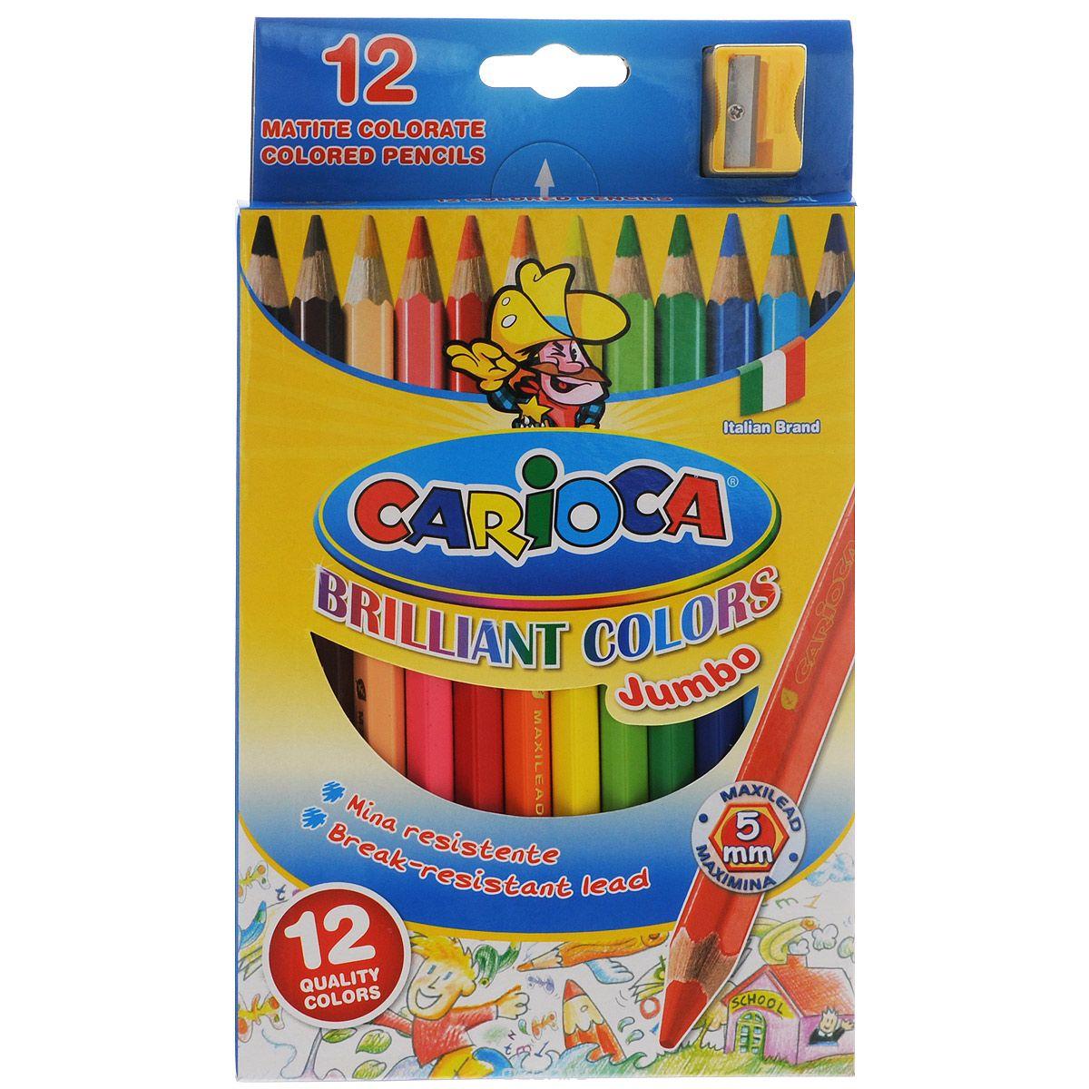 Набор цветных карандашей Carioca Jumbo с точилкой, 12 цветов41406/12Цветные карандаши Carioca Jumbo, непременно, понравятся вашему юному художнику.Набор включает в себя 12 ярких насыщенных цветных карандашей, которые идеально подходят для малышей. Карандаши выполнены в утолщенном деревянном корпусе и с толстым мягким грифелем.В набор также входит точилка.Порадуйте своего ребенка таким восхитительным подарком!
