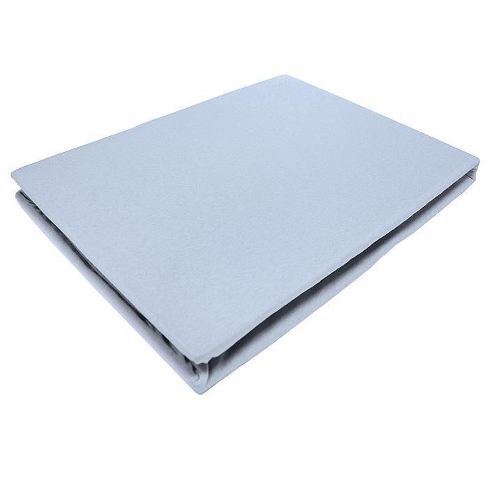 Простыня на резинке ЭГО, цвет: голубой, 160 х 200 см531-401Трикотажная простыня ЭГО изготовлена из 100 % хлопка высокого качества. Натуральный, экологически чистый материал обеспечивает высокую гигиеничность изделия. Трикотаж имеет специальную структуру, образованную переплетением петель, что обеспечивает его растяжимость и эластичность. Наличие резинки позволяет легко зафиксировать простыню на матрасе. Она не сминается и не комкается во время сна. Трикотаж достаточно эластичен, поэтому изделия из него можно даже не гладить. Если простыня немного больше кровати, с помощью резинки ее можно подогнать под размер кровати, учитывая толщину матраса. Также ее можно использовать в качестве наматрасника. Резинка пришита по всему периметру простыни. Плотность 140 г/м2. Уход: машинная стирка при температуре 60°C. Не отбеливать.