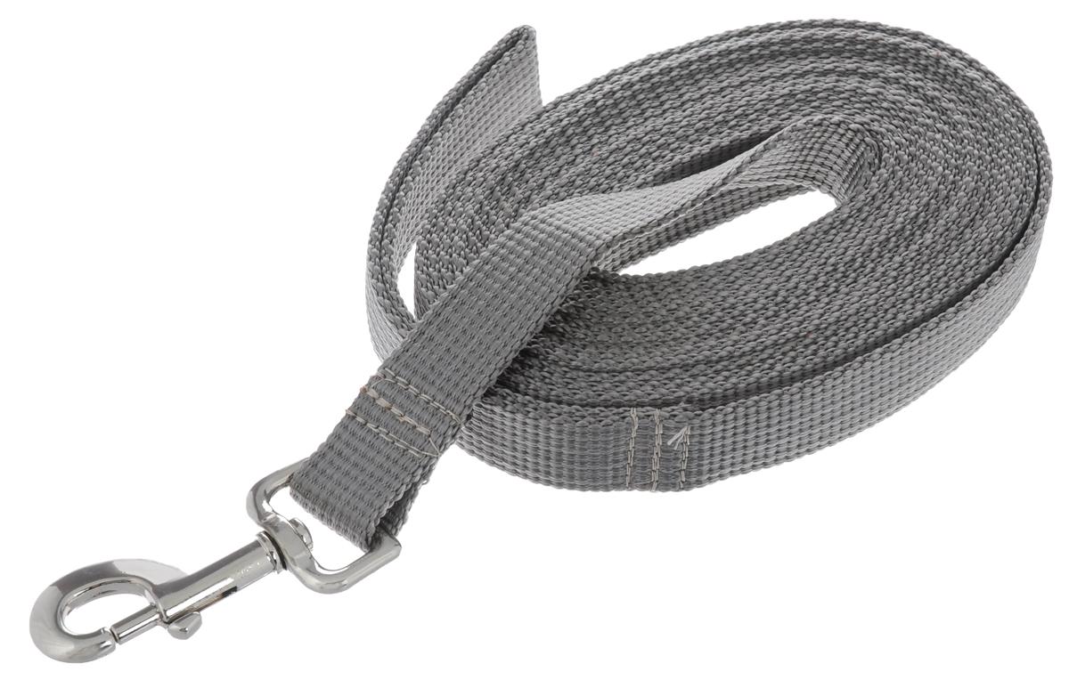 Поводок капроновый для собак Аркон, цвет: серый, ширина 2,5 см, длина 5 м0120710Поводок для собак Аркон изготовлен из высококачественного цветного капрона и снабжен металлическим карабином. Изделие отличается не только исключительной надежностью и удобством, но и привлекательным современным дизайном.Поводок - необходимый аксессуар для собаки. Ведь в опасных ситуациях именно он способен спасти жизнь вашему любимому питомцу. Иногда нужно ограничивать свободу своего четвероногого друга, чтобы защитить его или себя от неприятностей на прогулке. Длина поводка: 5 м.Ширина поводка: 2,5 см.