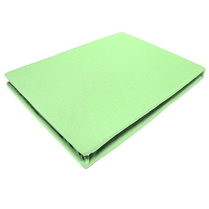 Простыня на резинке ЭГО, цвет: салатовый, 160 х 200 смES-412Трикотажная простыня ЭГО изготовлена из 100 % хлопка высокого качества. Натуральный, экологически чистый материал обеспечивает высокую гигиеничность изделия. Трикотаж имеет специальную структуру, образованную переплетением петель, что обеспечивает его растяжимость и эластичность. Наличие резинки позволяет легко зафиксировать простыню на матрасе. Она не сминается и не комкается во время сна. Трикотаж достаточно эластичен, поэтому изделия из него можно даже не гладить. Если простыня немного больше кровати, с помощью резинки ее можно подогнать под размер кровати, учитывая толщину матраса. Также ее можно использовать в качестве наматрасника. Резинка пришита по всему периметру простыни. Плотность 140 г/м2. Уход: машинная стирка при температуре 60°C. Не отбеливать.