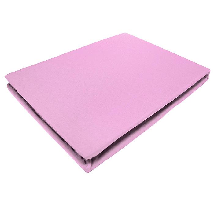 Простыня на резинке ЭГО, цвет: светло-розовый, 90 х 200 смES-412Трикотажная простыня ЭГО изготовлена из 100 % хлопка высокого качества. Натуральный, экологически чистый материал обеспечивает высокую гигиеничность изделия. Трикотаж имеет специальную структуру, образованную переплетением петель, что обеспечивает его растяжимость и эластичность. Наличие резинки позволяет легко зафиксировать простыню на матрасе. Она не сминается и не комкается во время сна. Трикотаж достаточно эластичен, поэтому изделия из него можно даже не гладить. Если простыня немного больше кровати, с помощью резинки ее можно подогнать под размер кровати, учитывая толщину матраса. Также ее можно использовать в качестве наматрасника. Резинка пришита по всему периметру простыни. Плотность 140 г/м2. Уход: машинная стирка при температуре 60°C. Не отбеливать.