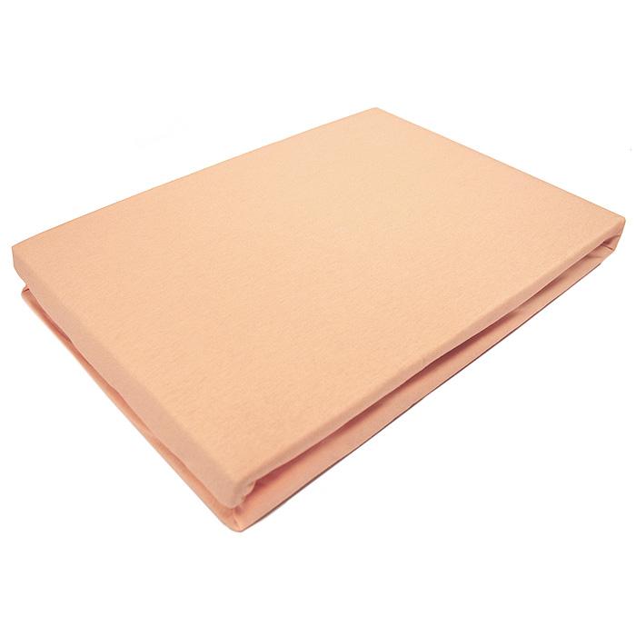 Простыня на резинке ЭГО, цвет: персиковый, 180 х 200 см531-103Трикотажная простыня ЭГО изготовлена из 100 % хлопка высокого качества. Натуральный, экологически чистый материал обеспечивает высокую гигиеничность изделия. Трикотаж имеет специальную структуру, образованную переплетением петель, что обеспечивает его растяжимость и эластичность. Наличие резинки позволяет легко зафиксировать простыню на матрасе. Она не сминается и не комкается во время сна. Трикотаж достаточно эластичен, поэтому изделия из него можно даже не гладить. Если простыня немного больше кровати, с помощью резинки ее можно подогнать под размер кровати, учитывая толщину матраса. Также ее можно использовать в качестве наматрасника. Резинка пришита по всему периметру простыни. Плотность 140 г/м2. Уход: машинная стирка при температуре 60°C. Не отбеливать.