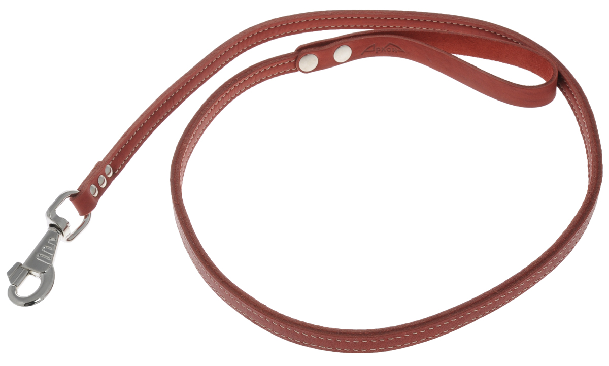 Поводок для собак Аркон Стандарт, цвет: красный, ширина 1,2 см, длина 140 см0120710Поводок для собак Аркон Стандарт изготовлен из высококачественной натуральной кожи. Карабин выполнен из легкого сверхпрочного сплава. Изделие отличается не только исключительной надежностью и удобством, но и привлекательным современным дизайном.Поводок - необходимый аксессуар для собаки. Ведь в опасных ситуациях именно он способен спасти жизнь вашему любимому питомцу. Иногда нужно ограничивать свободу своего четвероногого друга, чтобы защитить его или себя от неприятностей на прогулке. Длина поводка: 140 см.Ширина поводка: 1,2 см.