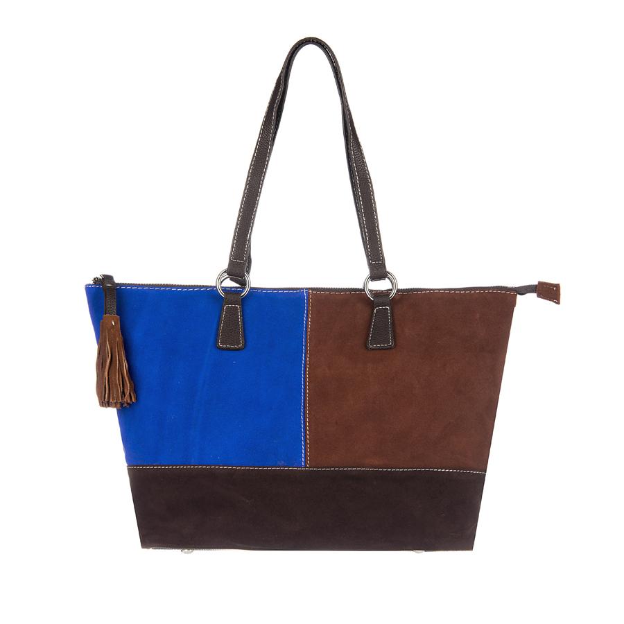 Сумка женская Orsa Oro, цвет: коричневый, синий. D-110/4223008Стильная женская сумка Orsa Oro выполнена из искусственной кожи, оформлена яркими замшевыми вставками, бегунок молнии дополнен кисточками.Изделие содержит одно отделение, которое закрывается на застежку-молнию. Внутри расположены два накладных кармашка для мелочей, карман-средник на молнии и врезной карман на молнии. Задняя сторона изделия дополнена врезным карманом на молнии. Сумка оснащена удобными ручками с металлической фурнитурой. Дно изделия дополнено металлическими ножками.Оригинальный аксессуар позволит вам завершить образ и быть неотразимой.