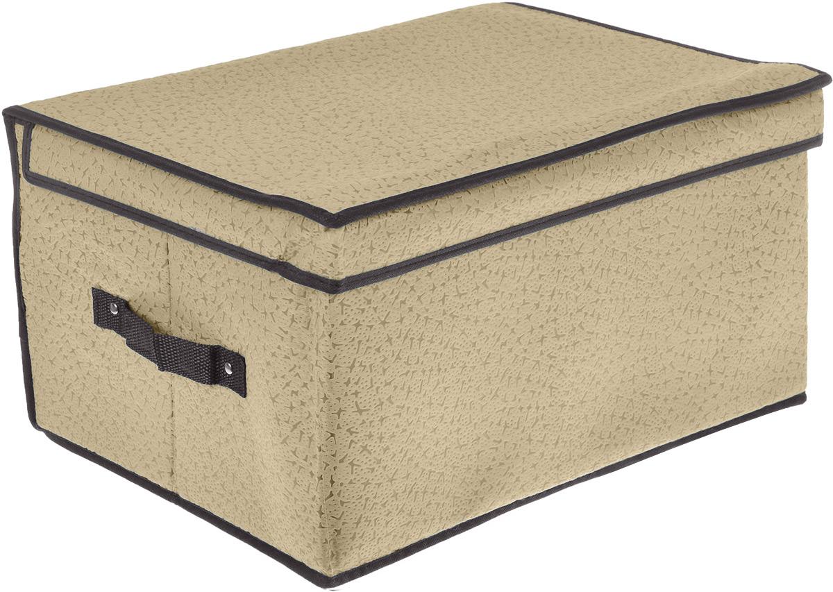 Кофр для хранения El Casa Звезды, складной, цвет: светло-бежевый, 60 x 40 x 30 смМ2076Компактный складной кофр El Casa Звезды изготовлен из высококачественного нетканого материала, который обеспечивает естественную вентиляцию, позволяя воздуху проникать внутрь, но не пропускает пыль. Вставки из плотного картона хорошо держат форму. Кофр оснащен 2 удобными ручками, которые позволяют использовать его в качестве выдвижного ящика в гардеробе или шкафу. Изделие закрывается откидной крышкой. Оригинальный дизайн будет отлично смотреться в любом интерьере. Размер кофра (в собранном виде): 60 х 40 х 30 см.