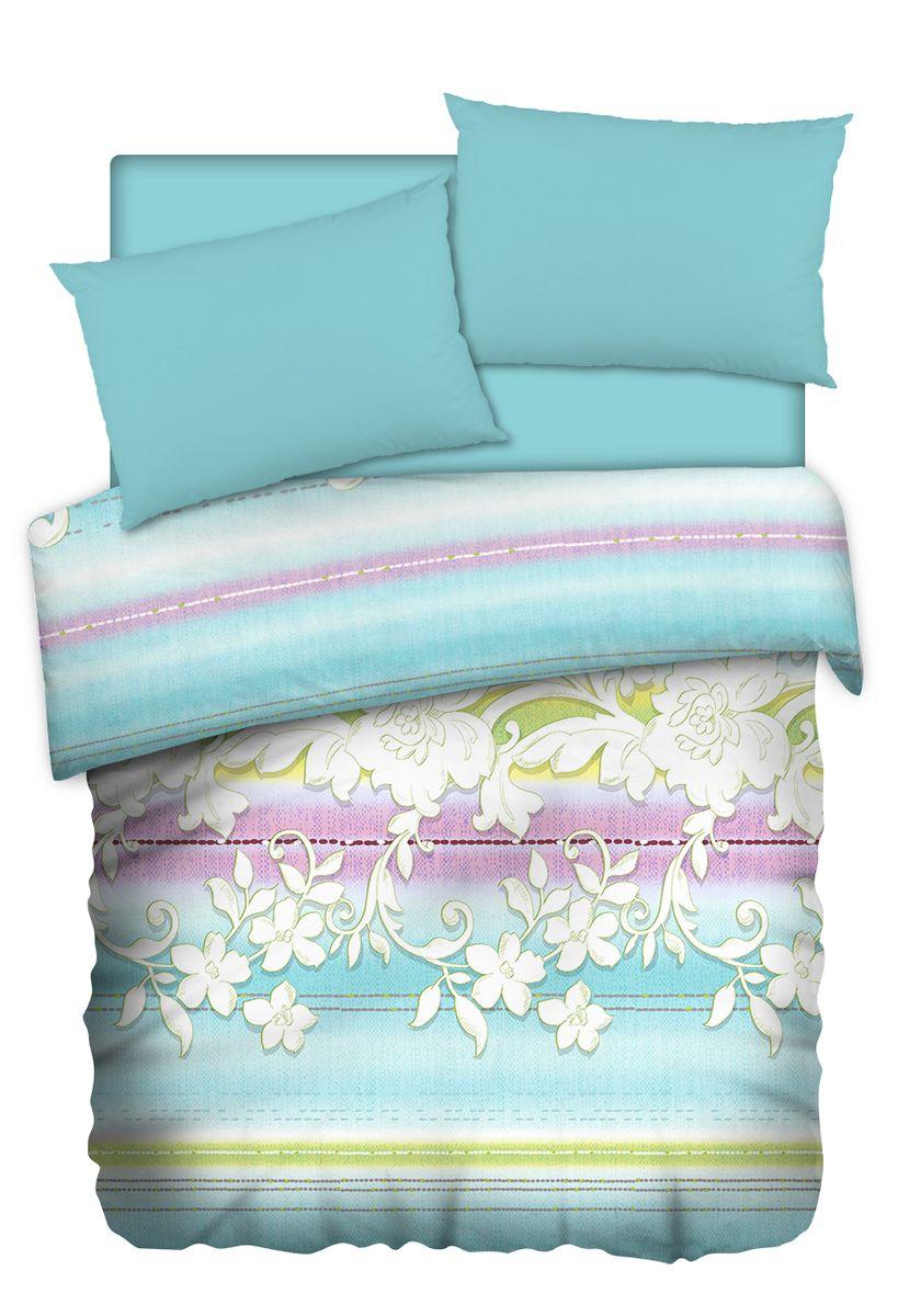 Комплект белья Carte Blanshe Jade, евро, наволочки 50x70, цвет: голубой. 333509B40-7Коллекция эксклюзивного постельного белья, созданная итальянскими дизайнерами прекрасногостаринного городка Италии — Riva del Gard. Постельное белье выполнено из великолепной ткани премиум — класса «Percale Soft Touch». Эта ткань произведена из 100% натурального хлопкаимеет специальную обработку «Wise Silk», которая придает дополнительную гладкость и шелковистость ткани. Благодаря специальной обработке ткань более приятная на ощупь, практически не мнется.