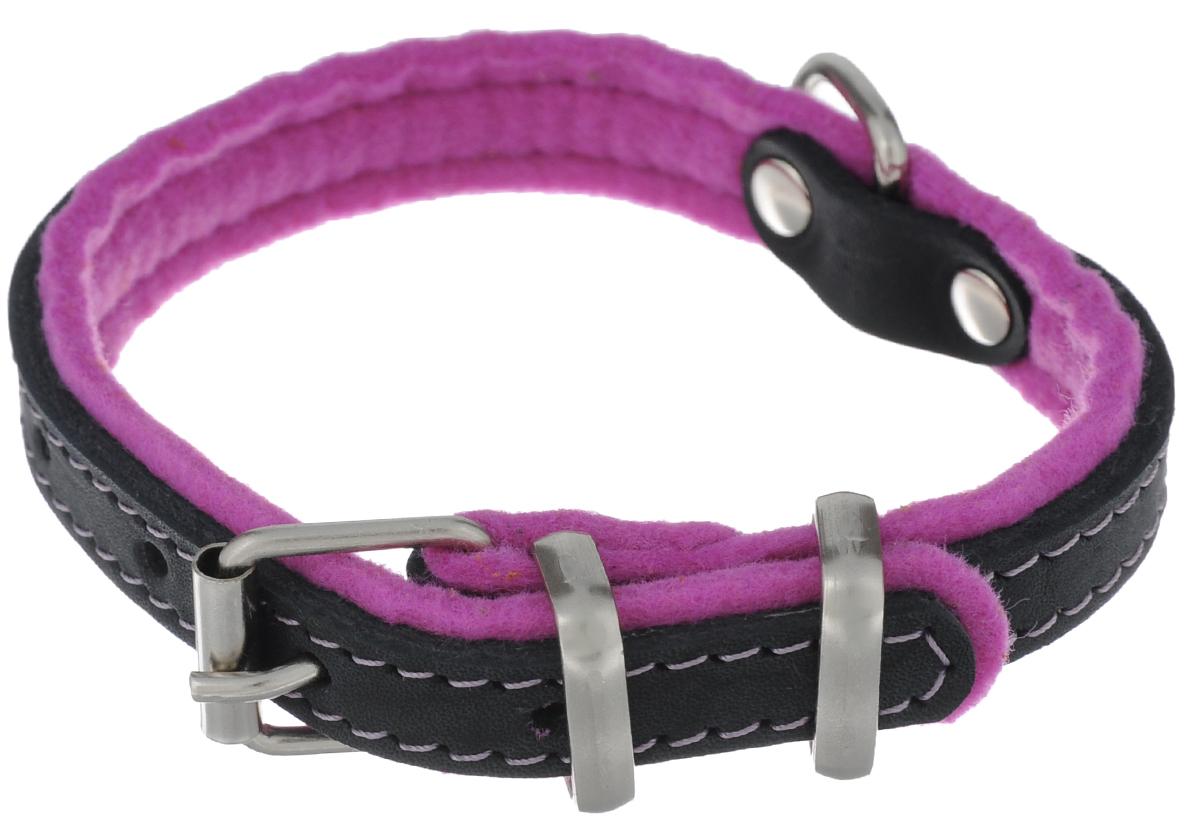 Ошейник для собак Аркон Фетр, цвет: черный, фиолетовый, ширина 1,6 см, длина 32 см. оф16о35/1скОшейник Аркон Фетр изготовлен из высококачественной натуральной кожи, устойчивой к влажности и перепадам температур, и фетра. Мягкий фетр предотвратит натирание шеи собаки ошейником и позволит ей с комфортом наслаждаться прогулкой.Клеевой слой, сверхпрочные нити, крепкие металлические элементы делают ошейник надежным и долговечным.Изделие отличается высоким качеством, удобством и универсальностью.Размер ошейника регулируется при помощи пряжки, зафиксированной на одном из 5 отверстий. Минимальный обхват шеи: 21 см. Максимальный обхват шеи: 28 см. Ширина: 1,6 см.
