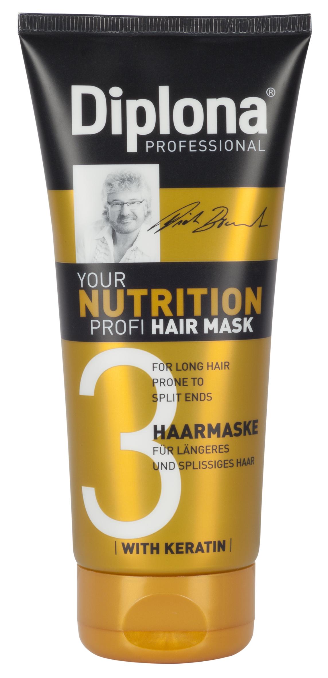 Маска для волос Diplona Professional Your Nutrition Profi, для длинных, секущихся волос, 200 млFS-00897Маска для волос Diplona Professional Your Nutrition Profi - питательный уход для длинных, секущихся волос. Основные компоненты:Пантенол - помогает восстановить поврежденные волосяные луковицы и секущиеся концы волос. Масло Ши - имеет схожий с липидами волос состав, поэтому легко заполняет образовавшиеся в кутикуле трещины, восстанавливая ее структуру и возвращая волосам силу. Обладает смягчающими, увлажняющими и регенерирующими свойствами. Протеины пшеницы - обладает увлажняющими, восстанавливающими свойствами, усиливает естественные функции кожи, в том числе активизируют механизмы защиты. Витамин В3 - благодаря своему сосудорасширяющему действию позволяет облегчить проникновение активных веществ, что благоприятно влияет на рост волос. Глицерин - проникает во внутрь волоса, удерживает в нем влагу, тем самым делая его прочным и упругим. Антистатик - предупреждает электризацию волос, смягчает волосы, делая их послушными. Характеристики: Объем: 200 мл. Производитель: Германия. Артикул: 95180.Diplona Professionalсуществует на немецком рынке более 40 лет, была разработана совместно с лучшим стилистом, неоднократным победителем конкурсов парикмахерского искусства Германии и основателем немецких салонов красоты с 60-летней историей Дитером Брюннетом.Товар сертифицирован.