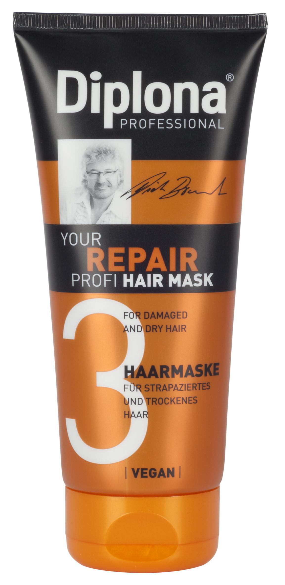 Маска для волос Diplona Professional Your Repair Profi, для сухих и поврежденных волос, 200 мл848890Маска для волос Diplona Professional Your Repair Profi - профессиональная помощь для сухих и поврежденных волос. Основные компоненты: Протеины пшеницы - увлажняют кожу, способствуют восстановлению блеска и эластичности волос, обеспечивают защиту и питание сухих волос. Пантенол - помогает восстановить поврежденные волосяные луковицы и секущиеся концы волос. Витамин В3 - благодаря своему сосудорасширяющему действию позволяет облегчить проникновение активных веществ, что благоприятно влияет на рост волос. Экстракт черной смородины - богат витаминами А, В и С, которые питают и защищают волосы от самых корней. Витамин Е - восстановляет первоначальную структуру волос, укрепляет корневые луковицы, придает волосам блеск и объем. Экстракт семян грейпфрута - улучшает регенерацию, отлично увлажняет и питает кожу и волосы благодаря высокому содержанию линолиевой кислоты. Экстракт моркови - питает, увлажняет и восстанавливает структуру волос. Защищает от жирного блеска, ломкости и сухости. Характеристики: Объем: 200 мл. Производитель: Германия. Артикул: 95182.Diplona Professionalсуществует на немецком рынке более 40 лет, была разработана совместно с лучшим стилистом, неоднократным победителем конкурсов парикмахерского искусства Германии и основателем немецких салонов красоты с 60-летней историей Дитером Брюннетом.Товар сертифицирован.