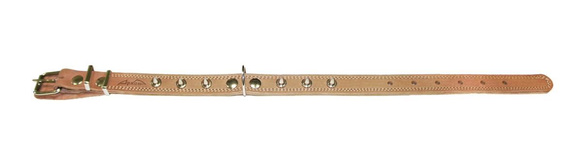 Ошейник Аркон Стандарт, с шипами, цвет: бежевый, ширина 2,5 см, длина 71 см0120710Ошейник Аркон Стандарт, декорированный металлическими шипами, изготовлен из кожи, устойчивой к влажности и перепадам температур. Клеевой слой, сверхпрочные нити, крепкие металлические элементы делают ошейник надежным и долговечным.Изделие отличается высоким качеством, удобством и универсальностью.Размер ошейника регулируется при помощи пряжки, зафиксированной на одном из 7 отверстий. Минимальный обхват шеи: 48 см. Максимальный обхват шеи: 65 см. Ширина: 2,5 см.