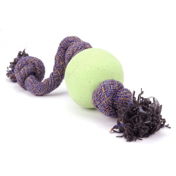 Игрушка для собак BecoThings Мяч на веревке, цвет: светло-зеленый, фиолетовый. Размер S16291 оранжевыйИгрушка BecoThings Мяч на веревке изготовлена из нового революционного экоматериала, состоящего из волокон рисовой шелухи, каучука и хлопка. Такая игрушка нетоксична, экологически чистая и абсолютно безопасная для собак поэтому, если ваш питомец случайно проглотит кусок мяча, то изделие не причинит никакого ущерба вашему любимцу. Диаметр игрушки: 5 см.Длина веревки: 30 см.