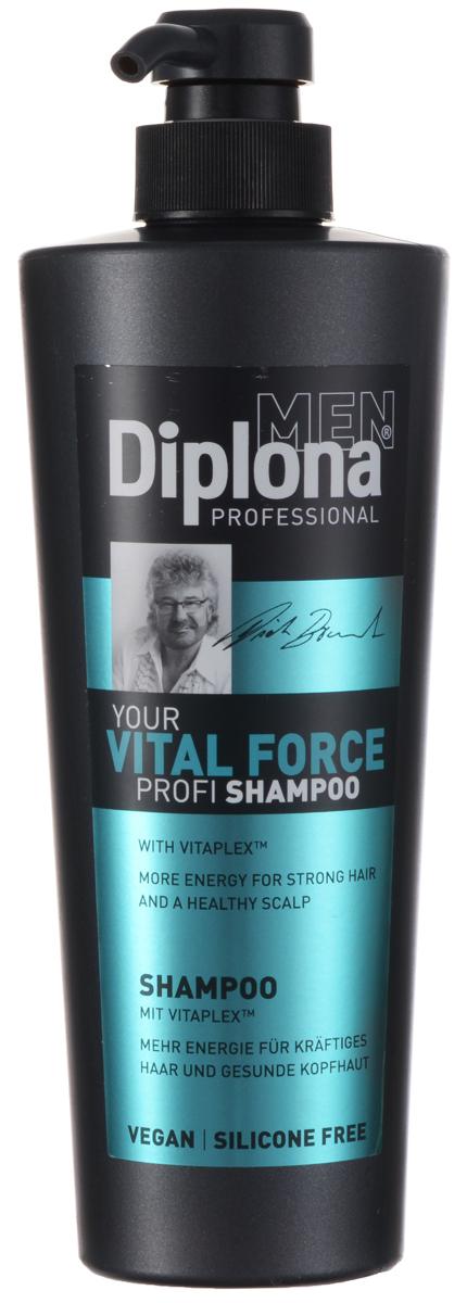 Diplona Professional Шампунь для мужчин Жизненная сила, 600 мл095199Шампунь Diplona Professional Жизненная сила с витаминным комплексом Vitaplex создан специально для мужских волос, очищает волосы и кожу головы. Vitaplex - сбалансированный комплекс витаминов для оживления и восстановления кожи головы. Облегчает процесс расчесывания волос. Пантенол эффективно очищает кожу головы и волосы, оказывает сильное восстанавливающее действие, увлажняет волосы, способствует их росту и препятствует выпадению. Ментол успокаивает кожу головы, стимулирует кровообращение, придает ощущение свежести.Глицерин проникает во внутрь волоса, удерживает в нем влагу, тем самым делает его прочным и упругим. Характеристики:Объем: 600 мл. Артикул: 095199. Производитель: Германия. Товар сертифицирован.