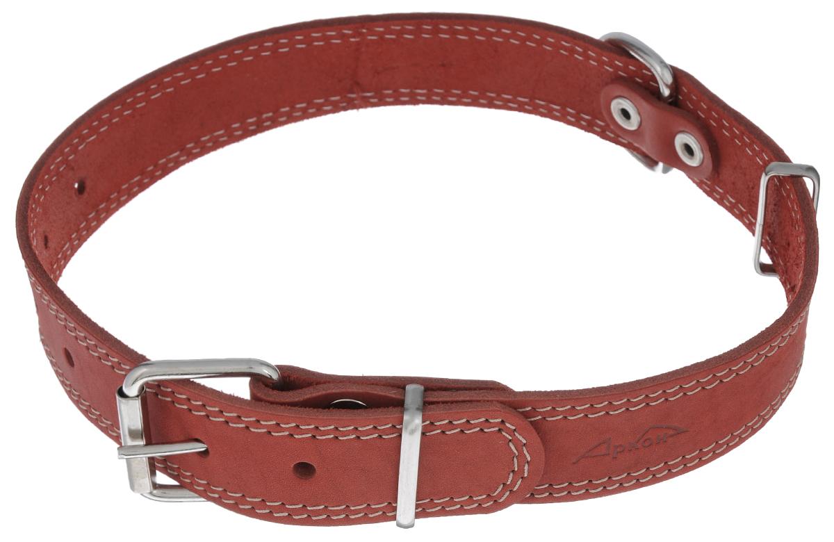 Ошейник Аркон Стандарт, цвет: красный, ширина 3,5 см, длина 70 см. о35/1с0120710Ошейник Аркон Стандарт изготовлен из кожи, устойчивой к влажности и перепадам температур. Клеевой слой, сверхпрочные нити, крепкие металлические элементы делают ошейник надежным и долговечным.Изделие отличается высоким качеством, удобством и универсальностью.Размер ошейника регулируется при помощи пряжки, зафиксированной на одном из 7 отверстий. Минимальный обхват шеи: 48 см. Максимальный обхват шеи: 65 см. Ширина: 2,5 см.
