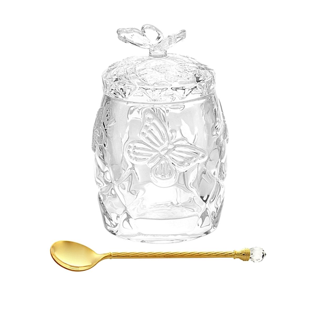 Горшочек для меда Elan Gallery Бабочки, с ложкой, 130 мл115510Горшочек для меда Elan Gallery Бабочки изготовлен из прочного прозрачного стекла. Изделие предназначено для хранения меда, варенья, джема или орехов. В комплекте предусмотрена специальная ложечка, которой очень удобно доставать варенье.Такой горшочек станет незаменимым аксессуаром на любой кухне.Диаметр (по верхнему краю): 5,5 см. Высота горшочка (с учетом крышкой): 11 см. Длина ложечки: 11 см.