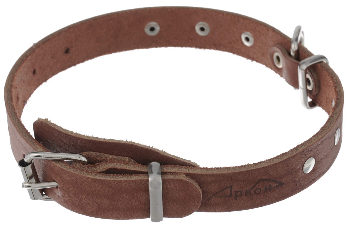 Ошейник Аркон Стандарт, цвет: коньячный, ширина 2 см, длина 50 см. о20
