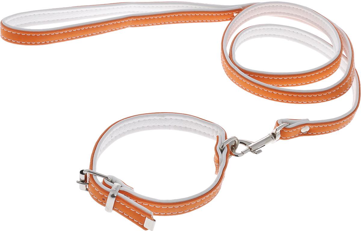 Комплект для животных Аркон Техно, цвет: оранжевый, белый, 2 предмета. кт370120710Комплект для животных Аркон Техно состоит из ошейника и поводка. Изделия изготовлены из искусственной кожи, фурнитура - из сверхпрочных сплавов металла. Надежная конструкция обеспечит вашему четвероногому другу комфортную и безопасную прогулку.Такой комплект подходит как для кошек, так и для мелких пород собак. Длина поводка: 1,1 м.Ширина поводка: 1,4 см.Обхват шеи: 24 - 30 см. Ширина ошейника: 1,5 см.