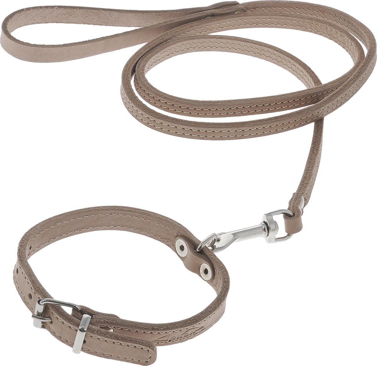 Комплект для собак Аркон Стандарт №7, цвет: светло-коричневый, 2 предметаПК5/20ЛБКомплект для животных Аркон Стандарт №7 состоит из ошейника и поводка. Изделия изготовлены из высококачественного металла и прошитой в два слоя натуральной кожи. Надежная конструкция обеспечит вашему четвероногому другу комфортную и безопасную прогулку.Такой комплект подходит для мелких и средних пород собак. Длина поводка: 1,4 м.Ширина поводка: 1 см.Обхват шеи: 25 - 33 см. Ширина ошейника: 1,6 см.