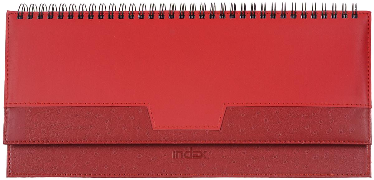Index Планинг Desert недатированный 64 листа цвет красный72523WDНедатированный планинг Index Desert - это один из удобных способов систематизации всех предстоящих событий и незаменимый помощник для каждого.Обложка выполнена из качественной искусственной кожи, с прострочкой по периметру и поролоновой подкладкой на верхней части обложки. Внутренний блок изготовлен из высококачественной бумаги с плотными листами. Первая страница представляет собой анкету для личных данных владельца, на последующих расположена справочная информация - календари на 2016, 2017, 2018, 2019 гг., телефонные коды России, международные телефонные коды, размеры одежды и другая информация. Планинг надежно скреплен металлическим гребнем. Все планы и записи всегда будут у вас перед глазами, что позволит легко ориентироваться в графике дел, событий и встреч.
