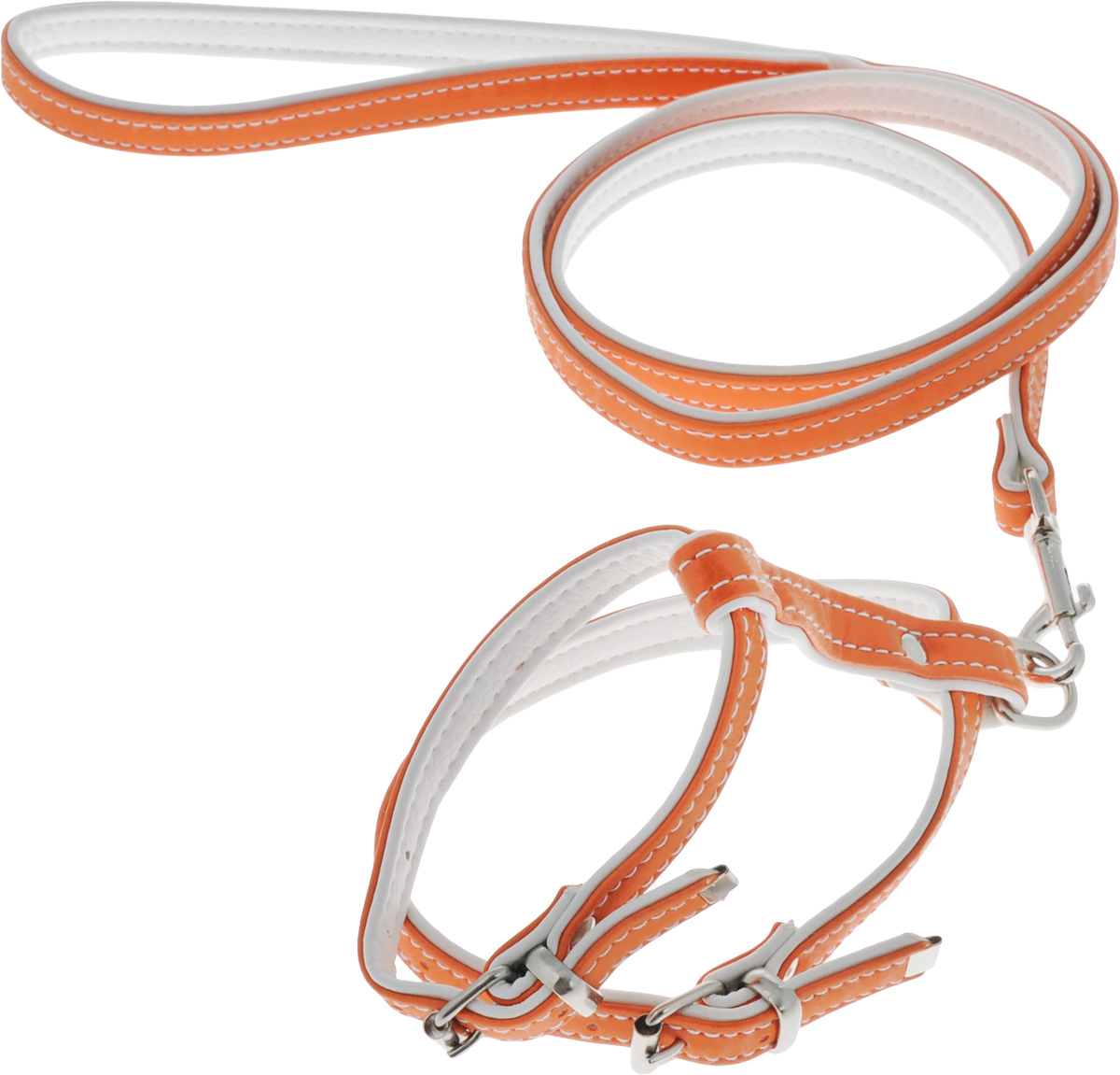 Комплект для животных Аркон Техно, цвет: оранжевый, белый, 2 предмета0120710Комплект для животных Аркон Техно состоит из шлейки и поводка. Изделия изготовлены из искусственной кожи, фурнитура - из сверхпрочных сплавов металла. Надежная конструкция обеспечит вашему четвероногому другу комфортную и безопасную прогулку.Такой комплект подходит как для кошек, так и для мелких пород собак. Длина поводка: 1,1 м.Ширина поводка: 1,4 см.Обхват шеи: 18,5 - 25 см. Обхват груди: 29 - 35,5 см.Длина спинки: 10,5 см.Ширина ремней: 1,4 см; 1,6 см.