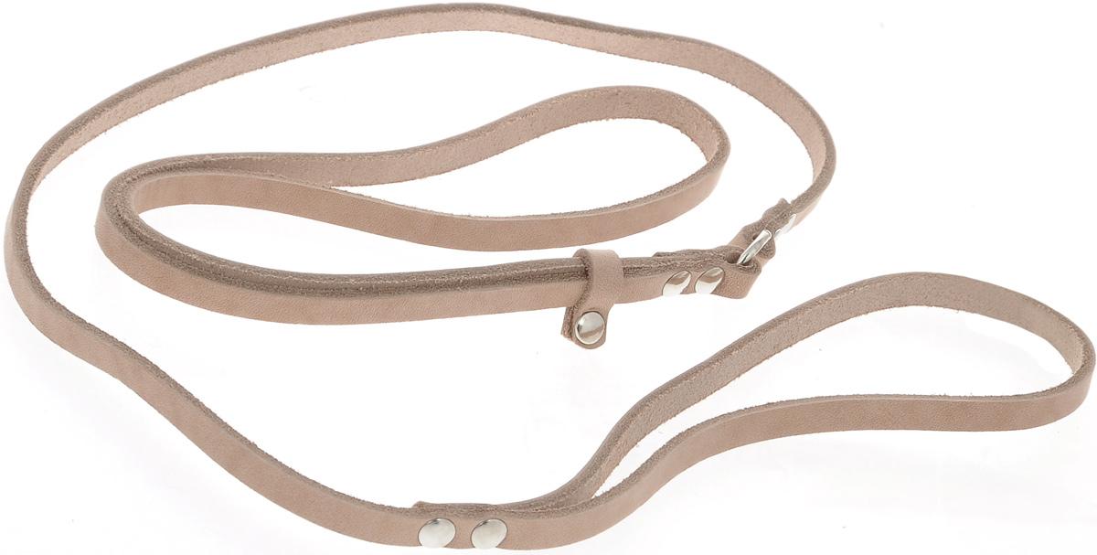 Ринговка для собак Аркон Стандарт, цвет: бежевый, ширина 0,8 см, длина 110 смочдкРинговка Аркон Стандарт - это специальный поводок, состоящий из петли с фиксатором и, собственно, поводка. Выполнена из натуральной кожи, фурнитура - из высококачественного металла. Ринговка является самым распространенным видом амуниции для показа собаки на выставке или занятий рингдрессурой. Ринговку подбирают в тон окраса собаки, если собака пятнистая - то в тон преобладающего окраса или, наоборот, контрастную. Ширина: 0,8 см.Длина: 110 см.