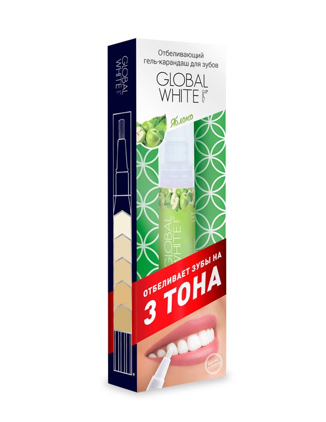 Global White Отбеливающий гель-карандаш для зубов Яблоко, 5 млDB4010(DB4.510)/голубой/розовыйОтбеливает на 3 тона, клинически доказанный результат, эффект после первого применения. Со вкусом яблока.