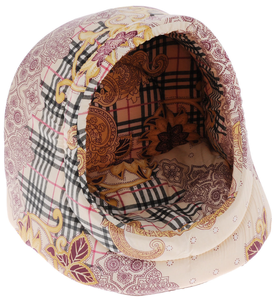 Лежак для кошек Бобровый дворик Ракушка. Трава, цвет: светло-бежевый, коричневый, желтый, 40 х 33 х 33 см6734_светло-бежевый, коричневый, желтыйЛежак для кошек Бобровый дворик Ракушка. Трава станет уютным местом для вашей пушистой любимицы. Лежак представляет собой небольшой домик, напоминающий по форме ракушку. Изделие выполнено из хлопка с наполнителем из мебельного поролона повышенной жесткости и спанбонда. Домик прекрасно держит форму, в нем вашей кошке будет уютно, мягко и комфортно. Там она сможет подремать, отдохнуть и просто спрятаться.