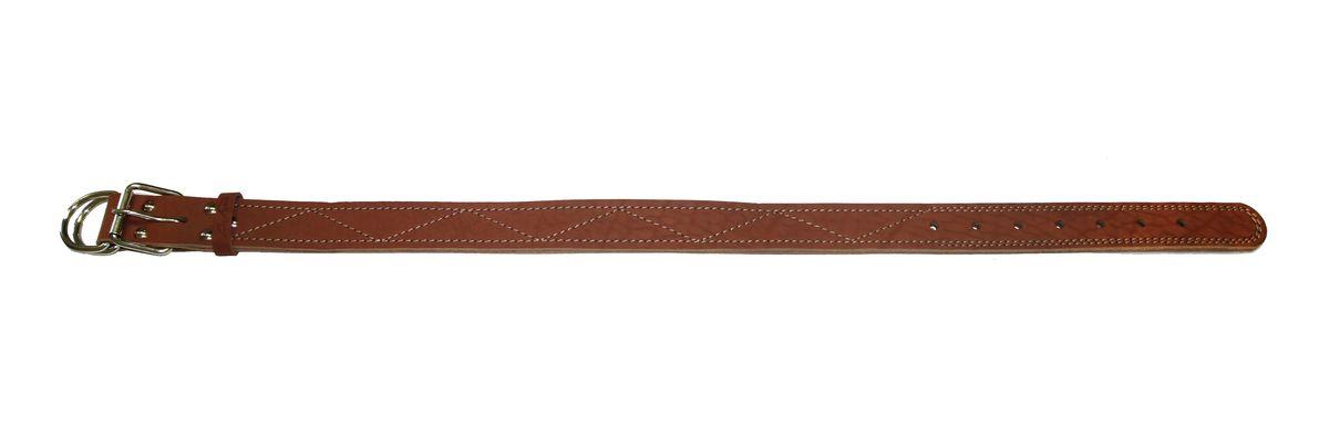 Ошейник Аркон Стандарт, цвет: коньячный, ширина 3,5 см, длина 77 см0120710Ошейник Аркон Стандарт изготовлен из кожи, устойчивой к влажности и перепадам температур. Клеевой слой, сверхпрочные нити, крепкие металлические элементы делают ошейник надежными и долговечными.Изделие отличается высоким качеством, удобством и универсальностью.Размер ошейника регулируется при помощи пряжки, зафиксированной на одном из 7 отверстий. Минимальный обхват шеи: 50 см. Максимальный обхват шеи: 67 см. Ширина: 3,5 см.