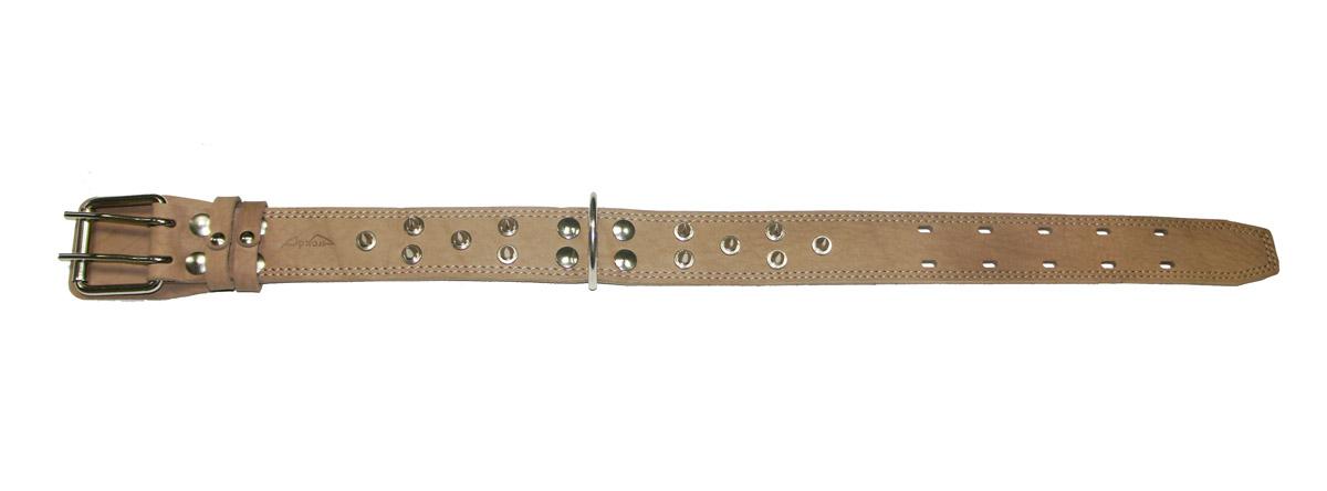 Ошейник Аркон Стандарт, с шипами, цвет: бежевый, ширина 4,5 см, длина 69 см0120710Ошейник Аркон Стандарт, декорированный металлическими шипами, изготовлен из кожи, устойчивой к влажности и перепадам температур. Клеевой слой, сверхпрочные нити, крепкие металлические элементы делают ошейник надежным и долговечным.Изделие отличается высоким качеством, удобством и универсальностью.Размер ошейника регулируется при помощи пряжки, зафиксированной на одном из 5 двойных отверстий. Минимальный обхват шеи: 46 см. Максимальный обхват шеи: 62 см. Ширина: 4,5 см.