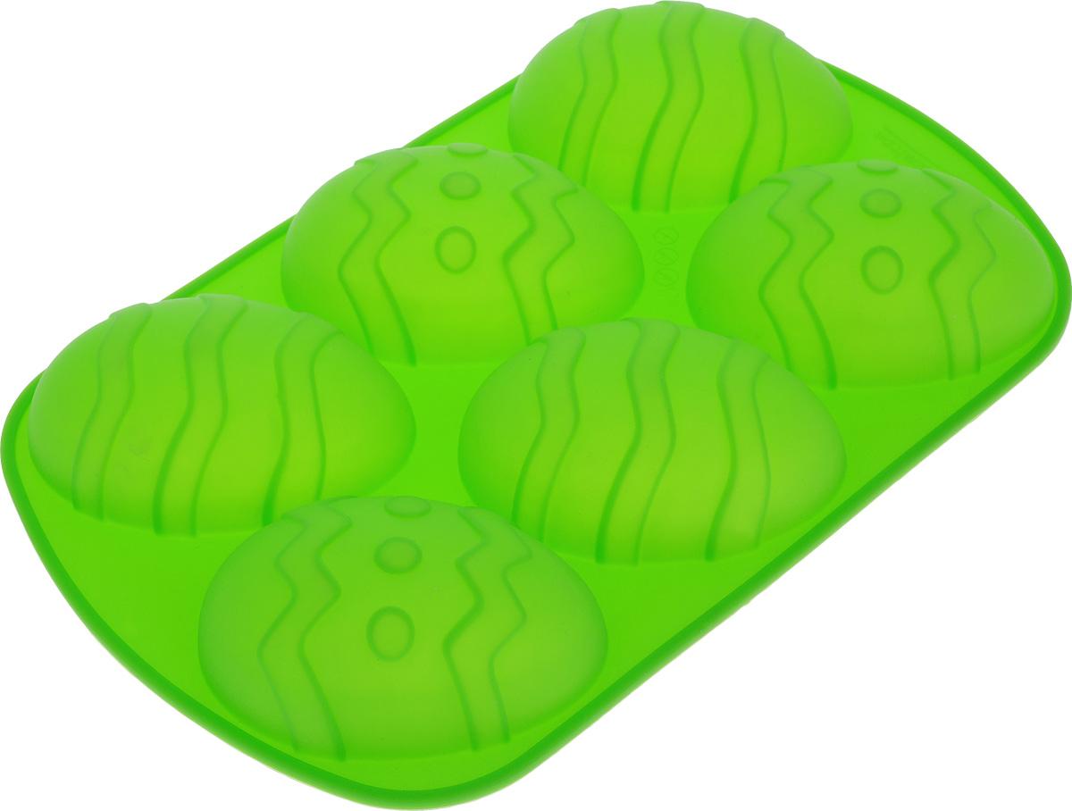 Форма для выпечки Marmiton Пасхальное яйцо, силиконовая, цвет: зеленый, 6 ячеек16133_зеленыйФорма для выпечки Marmiton Пасхальное яйцо, выполненная из силикона, предназначена для приготовления выпечки, льда, конфет и желе. Не взаимодействует с продуктами питания и не впитывает запахи как при нагревании, так и при заморозке. Форма обладает естественными антипригарными свойствами. Готовую выпечку или мармелад вынимать легко и просто.С такой формой вы всегда сможете порадовать своих близких оригинальным кулинарным шедевром. Материал устойчив к фруктовым кислотам, может быть использован в духовках и микроволновых печах (выдерживает температуру от 240°C до - 40°C). Можно мыть и сушить в посудомоечной машине.Размер формы для выпечки: 26,5 х 17 х 3,5 см. Размер ячейки: 6,5 х 9,3 х 3,5 см.