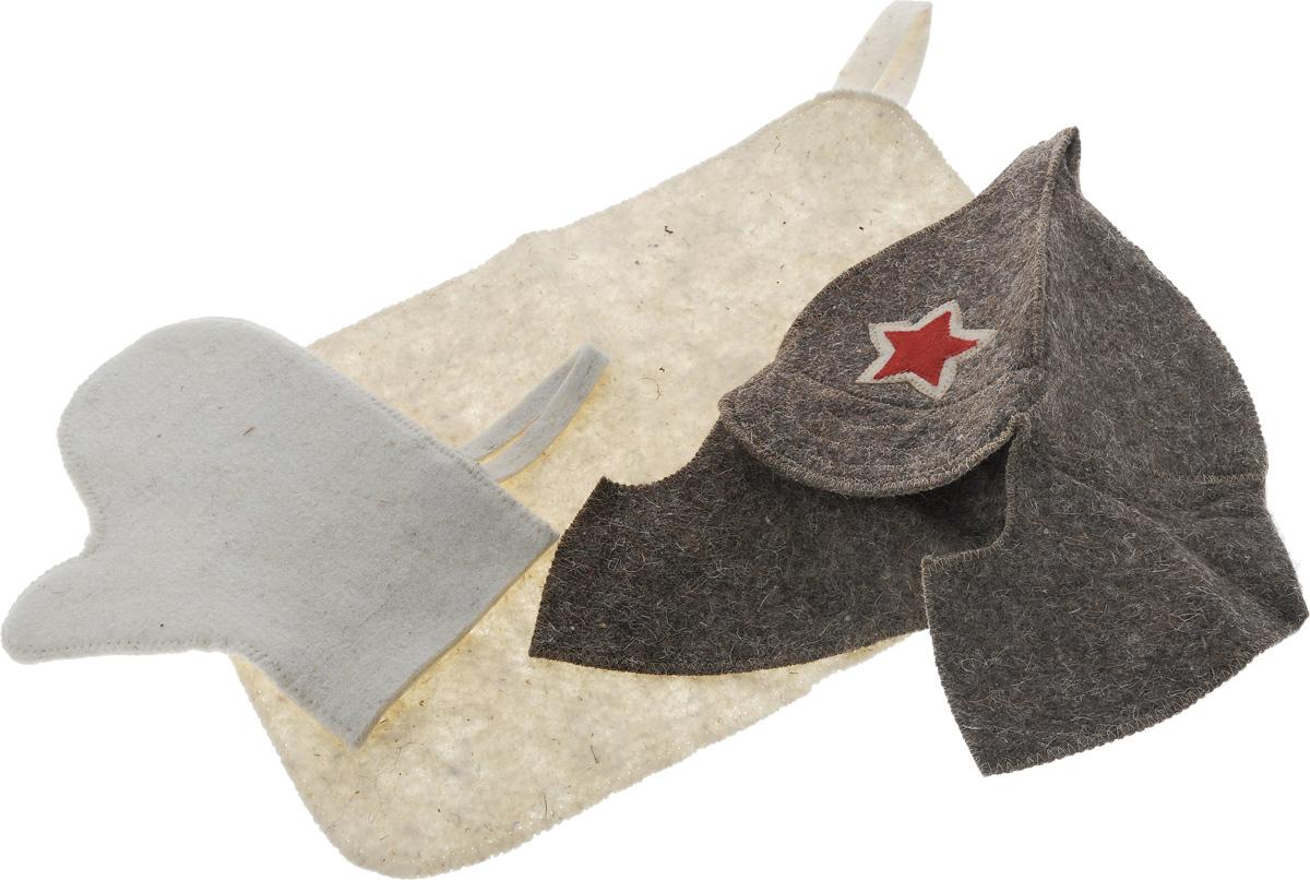 Набор для бани и сауны Proffi Звезда, 3 предмета787502Оригинальный набор для бани Proffi Звезда включает в себя шапку, рукавицу и коврик. Изделия выполнены из войлока (шерсть с добавлением полиэфира). Шапка оформлена декоративной нашивкой в виде красной звезды.Шапка, рукавица и коврик - это незаменимые аксессуары для любителей попариться в русской бане и для тех, кто предпочитает сухой жар финской бани. Необычный дизайн изделий поможет сделать ваш отдых приятным и разнообразным. Шапка защитит волосы от сухости и ломкости, голову от перегрева и предотвратит появление головокружения. Рукавица обезопасит ваши руки от появления ожогов, а коврик от высоких температур при контакте с горячей лавкой в парилке. На изделиях имеются петельки, с помощью которых их можно повесить на крючок в предбаннике.Такой набор станет отличным подарком для любителей отдыха в бане или сауне. Размер коврика: 48 х 32 см. Обхват головы: 60 см. Высота шапки: 29 см. Размер рукавицы: 27 х 23 см.