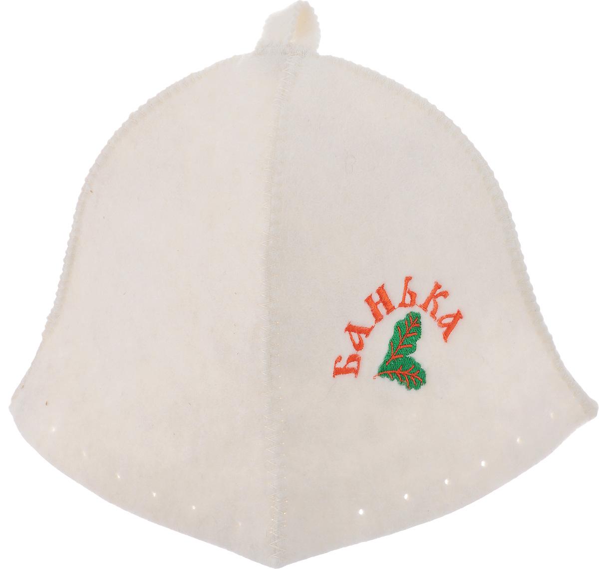 Шапка для бани и сауны Proffi Люкс. БанькаK100Банная шапка Proffi Люкс. Банька изготовлена из высококачественного войлока и декорирована изображением двух листьев и надписью Банька. Банная шапка - это незаменимый аксессуар для любителей попариться в русской бане и для тех, кто предпочитает сухой жар финской бани. Кроме того, шапка защитит волосы от сухости и ломкости, голову от перегрева и предотвратит появление головокружения. На шапке имеется петелька, с помощью которой ее можно повесить на крючок в предбаннике. Такая шапка станет отличным подарком для любителей отдыха в бане или сауне.Обхват головы: 74 см.Высота шапки: 24 см.