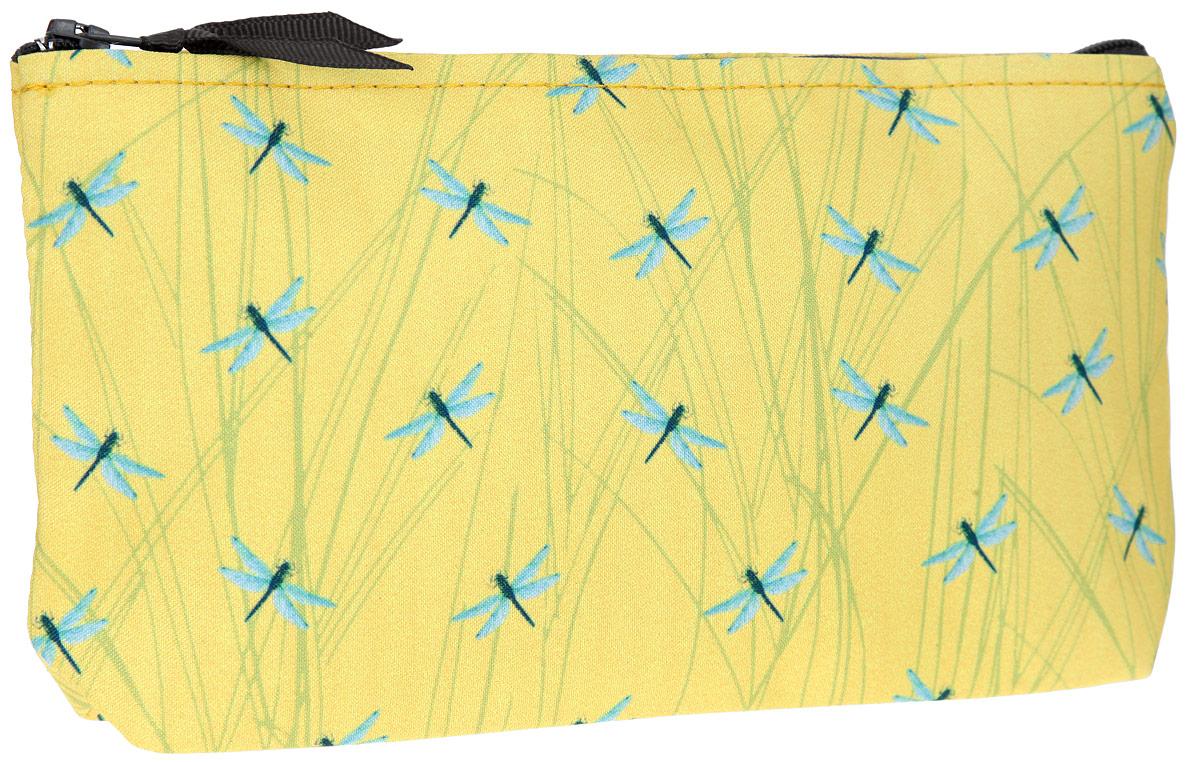 Косметичка ОРЗ-Дизайн Стрекозы, цвет: желтый. Орз-0352INT-06501Косметичка ОРЗ-Дизайн Стрекозы выполнена из текстиля и оформлена оригинальным авторским принтом.Изделие содержит одно основное отделение, которое закрывается на застежку-молнию.Женская косметичка - это стильный и полезный аксессуар для любой современной модницы. В косметичке поместится вся необходимая косметика, а благодаря компактным размерам ее всегда можно носить с собой в сумочке.