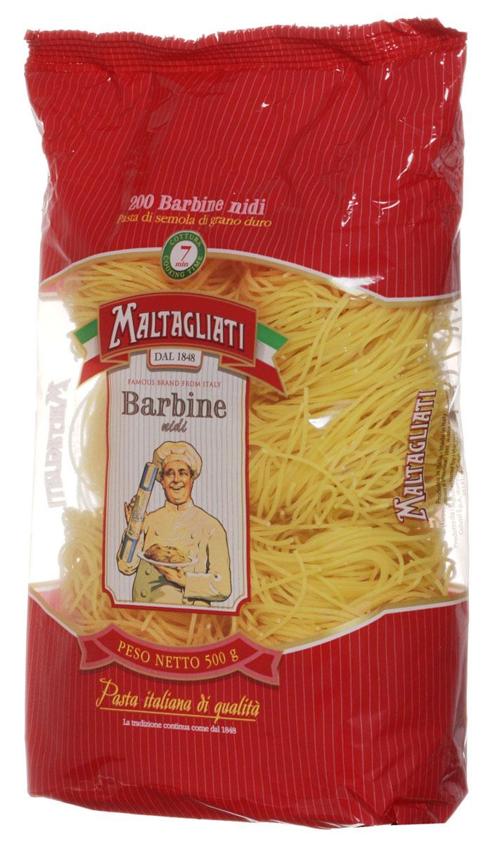 Maltagliati Barbine nidi Клубки вермишель макароны, 500 г0120710Макаронные изделия Maltagliati производятся в Италии в Тоскане с 1848 года. Несмотря на то, что Maltagliati - это имя собственное, с начала прошлого века Maltagliati используется в Италии как нарицательное имя для домашней лапши и формата макаронных изделий похожих на домашнюю лапшу. Это самые известные итальянские макаронные изделия на территории Российской Федерации и, вероятно, всего бывшего СССР.