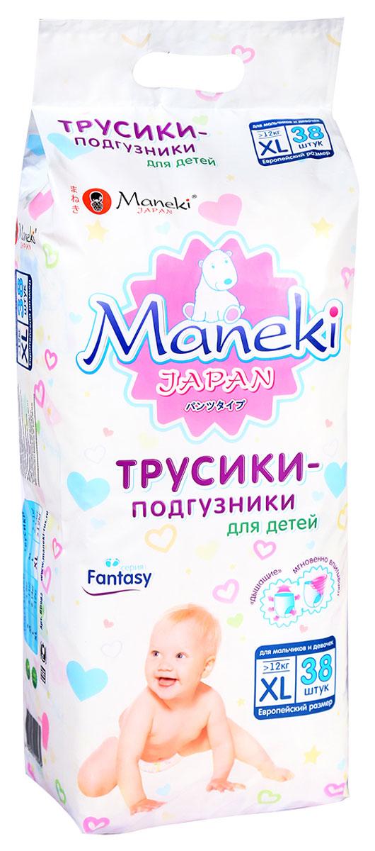 Maneki Подгузники-трусики детские одноразовые Fantasy размер XL от 12 кг 38 шт подгузники maneki fantasy xl 12 кг 48 шт