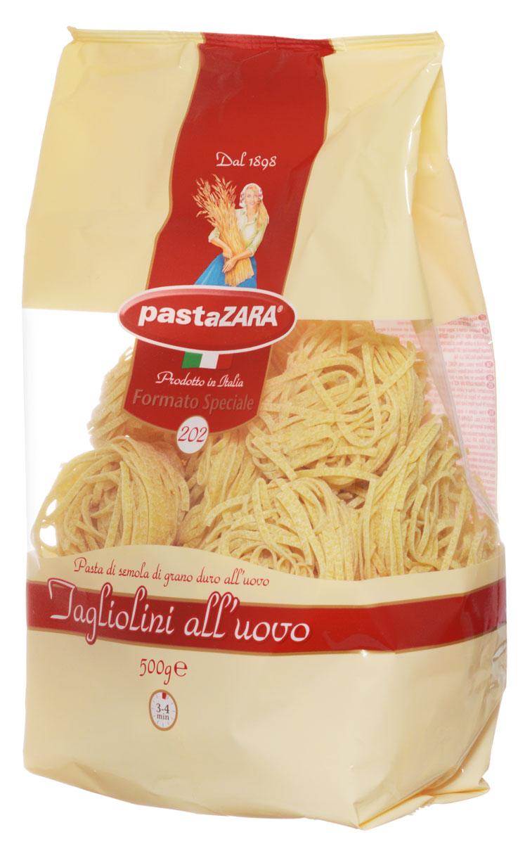 Pasta Zara Клубки яичные тонкие тальолини макароны, 500 г0120710Макаронные изделия Pasta Zara — одна из самых популярных марок итальянских макаронных изделий в России. Продукция под торговой маркой Паста Зара сочетает в себе современность технологий производства и традиционное итальянское качество. Макаронные изделия Pasta Zara представлены более чем в 80 странах мира.Макароны Pasta Zara выпускаются в Италии с 1898 года семьёй Браганьоло уже в течение четырёх поколений. Компания Pasta Zara — это семейный бизнес, который вкладывает более, чем вековой опыт работы с макаронными изделиями в создание и продвижение своего продукта, тщательно отслеживая сохранение традиций.Макаронные изделия Pasta Zara Клубки изготовляются только из высококачественной муки твердых сортов пшеницы. По вкусу макароны максимально приближены к тем, что когда-то готовили дома, раскатывая скалкой.