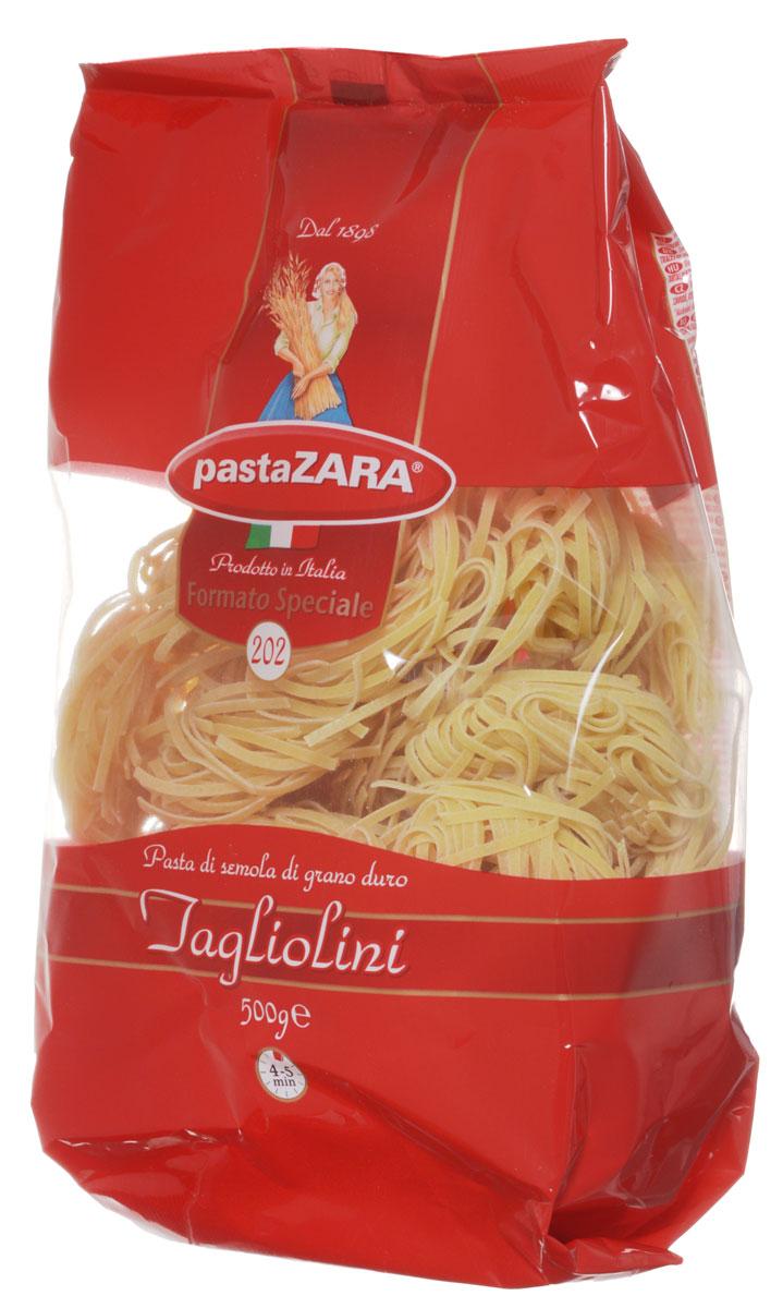 Pasta Zara Клубки тонкие тальолини макароны, 500 г0120710Макаронные изделия - Клубки Pasta Zara — одна из самых популярных марок итальянских макаронных изделий в России. Продукция под торговой маркой Паста Зара сочетает в себе современность технологий производства и традиционное итальянское качество. Макаронные изделия Pasta Zara представлены более чем в 80 странах мира.Макароны Pasta Zara выпускаются в Италии с 1898 года семьёй Браганьоло уже в течение четырёх поколений. Компания Pasta Zara — это семейный бизнес, который вкладывает более, чем вековой опыт работы с макаронными изделиями в создание и продвижение своего продукта, тщательно отслеживая сохранение традиций.Макаронные изделия Pasta Zara Клубки изготовляются только из высококачественной муки твердых сортов пшеницы. По вкусу макароны максимально приближены к тем, что когда-то готовили дома, раскатывая скалкой.