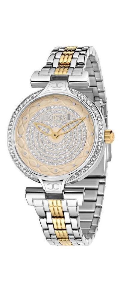 Часы наручные женские Just Cavalli Lady J, цвет: серебристый, золото. R7253579503BM8434-58AEстразы из стекла, ПВД покрытие золотом