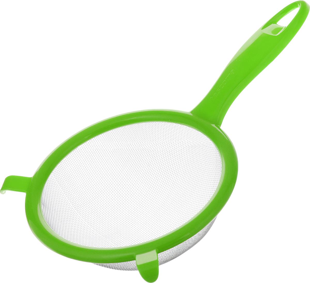 Сито Tescoma Presto, цвет: светло-зеленый, диаметр 14 см115510Сито Tescoma Presto изготовлено из высококачественной нержавеющей стали и прочного пластика. Изделие снабжено двумя выступами для установки на кастрюлю. Ручка снабжена отверстием для подвешивания на крючок. Сито предназначено для процеживания круп и макарон, просеивания муки, промывания ягод и фруктов. Такое сито станет незаменимым аксессуаром на вашей кухне. Можно мыть в посудомоечной машине. Диаметр сита: 14 см. Длина (с учетом ручки): 25 см.