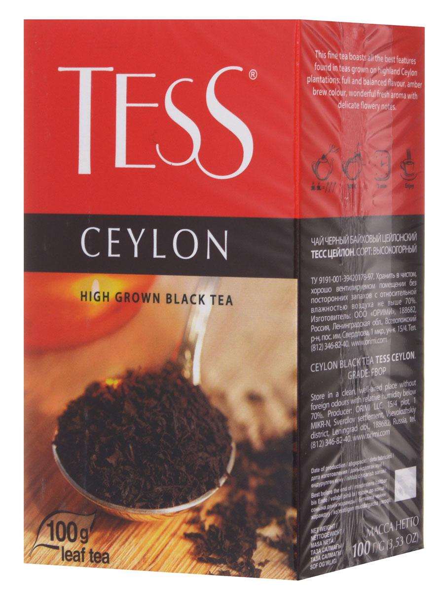 Tess Ceylon черный листовой чай, 100 г101246Tess Ceylon - черный цейлонский чай, выращенный на высокогорных плантациях. Отличается насыщенным, ярким вкусом и тонким природным ароматом, свойственным высокогорным чаям. Отличительная особенность высокогорных чаев в том, что они обладают более светлым настоем, чем собранные на равнине, хотя по крепости порой даже превосходят их.