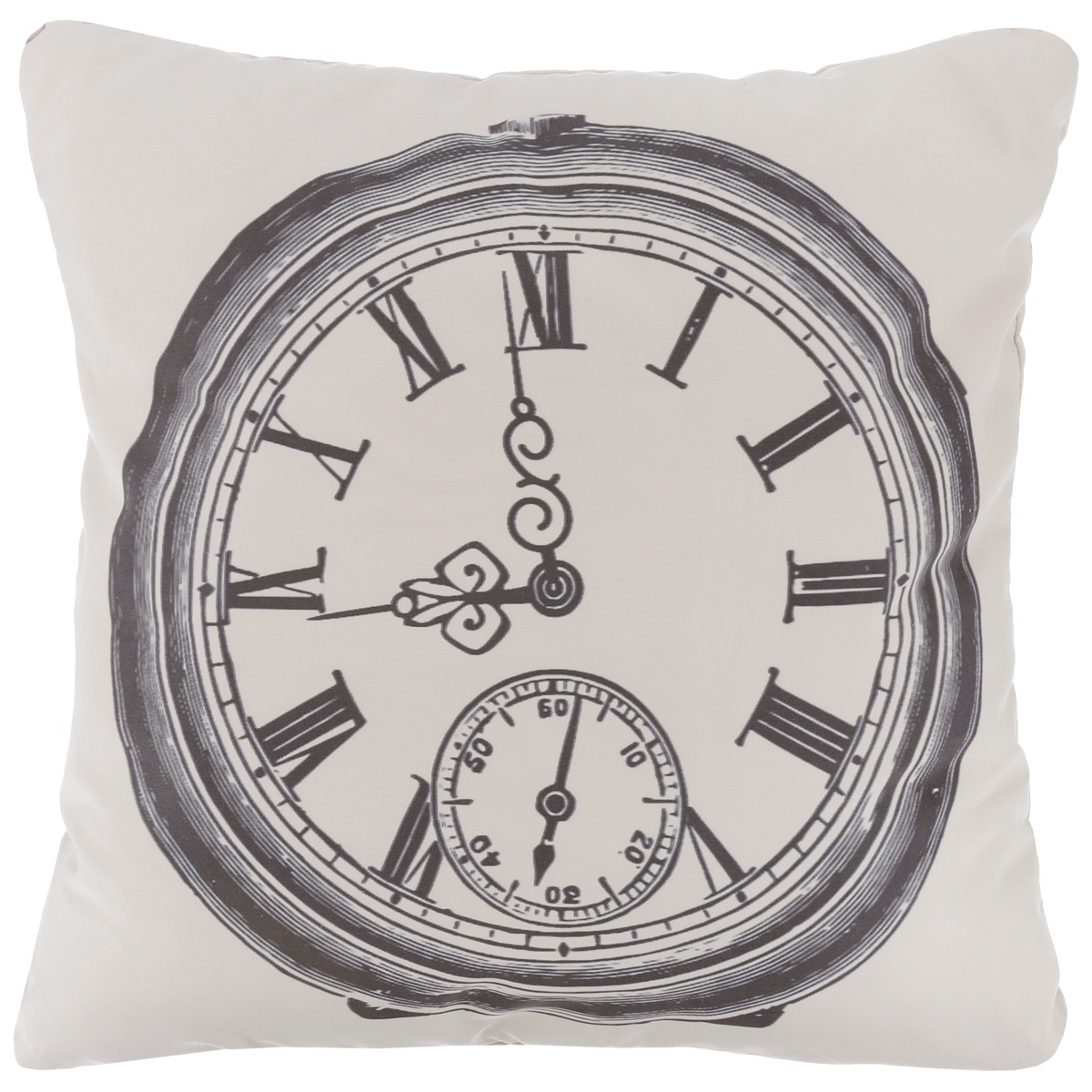 Подушка декоративная Proffi Старинные часы, цвет: белый, черный, 43 х 43 см531-105Декоративная подушка Proffi Старинные часы - это яркое украшение вашего дома. Чехол выполнен из приятного на ощупь полиэстера и застегивается на молнию. Внутри - мягкий наполнитель, изготовленный из шариков холлофайбера.Лицевая сторона подушки украшена ярким изображением, задняя сторона - однотонная. Стильная и яркая подушка эффектно украсит интерьер и добавит в привычную обстановку изысканность и роскошь.