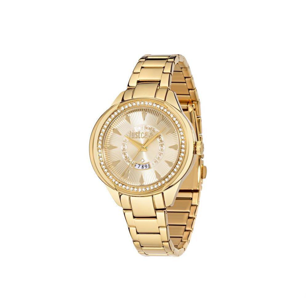 Часы наручные женские Just Cavalli JC01, цвет: золотой. R7253571501BM8434-58AEстразы из стекла, ПВД покрытие золотом