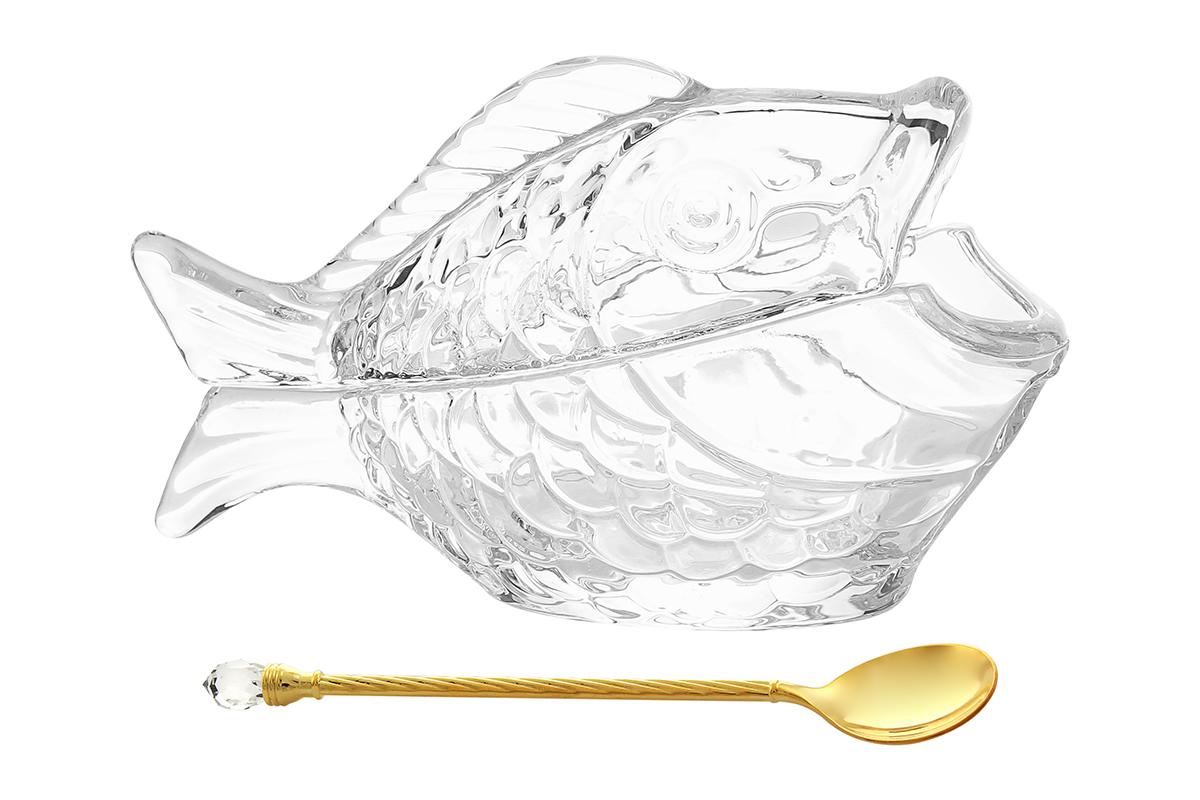 Икорница Elan Gallery Рыбка, с ложкой, 150 мл. 890086115510Икорница Elan Gallery Рыбка изготовлена из высококачественного стекла в форме рыбки. Изделие оснащено крышкой и специально предназначено для сервировки икры. Оригинальное блюдо станет изысканным украшением вашего праздничного стола. В комплект входит ложка.Не рекомендуется применять абразивные моющие средства. Не использовать в микроволновой печи. Размер икорницы (по верхнему краю): 16,5 х 7,5 см.Высота икорницы (без учета крышки): 6,3 см.Длина ложечки: 14,5 см.