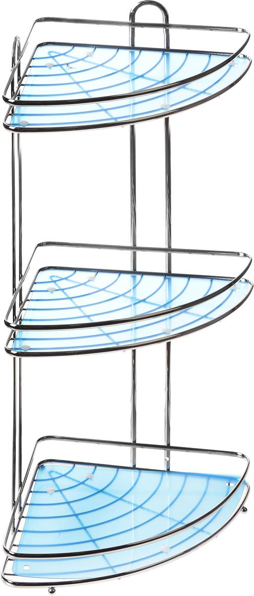 Полка подвесная Vanstore Blue, 3-ярусная, угловая, высота 53,5 см41619Подвесная полка Vanstore Blue, выполненная из стали, сэкономит место в ванной комнате. Полка подвешивается с помощью саморезов (входят в комплект). Она пригодится для хранения различных принадлежностей, которые всегда будут под рукой.Благодаря компактным размерам полка впишется в интерьер вашего дома, а также позволит удобно и практично хранить предметы домашнего обихода.Размер яруса (ДхШхВ): 30,5 х 22,5 х 4,5 см.Общая высота полки: 53,5 см.