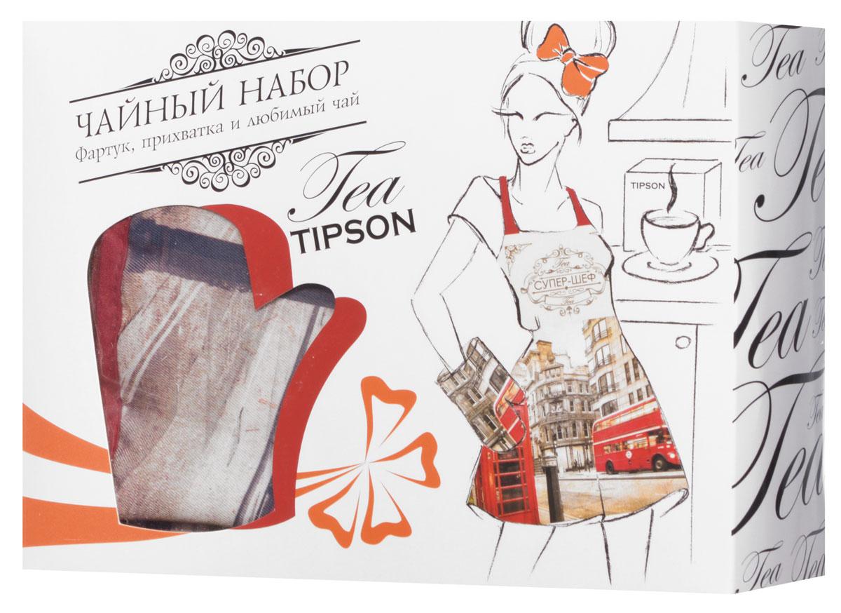 Tipson Подарочный набор Лондон черный чай Ceylon №1 и дизайнерский фартук с прихваткой в подарок, 85 г10060-00Что подарить дорогим дамам? Конечно же цветы и что-то милое и в то же время полезное. Порадуйте милую хозяюшку праздничным чайным набором Tipson Лондон с плотной варежкой-прихваткой и нарядным фартуком. Яркая коробка из дизайнерского картона, украшенная молодежным принтом, несомненно вызовет только положительные эмоции, а входящий в набор качественный черный чай Tipson Ceylon №1 подарит насыщенный вкус и аромат свежести цейлонских чайных плантаций.Размер фартука: 80 см х 70 смМатериал фартука: 100% полиэстерРазмер прихватки: 17 см х 28 смМатериал прихватки: 100% полиэстер