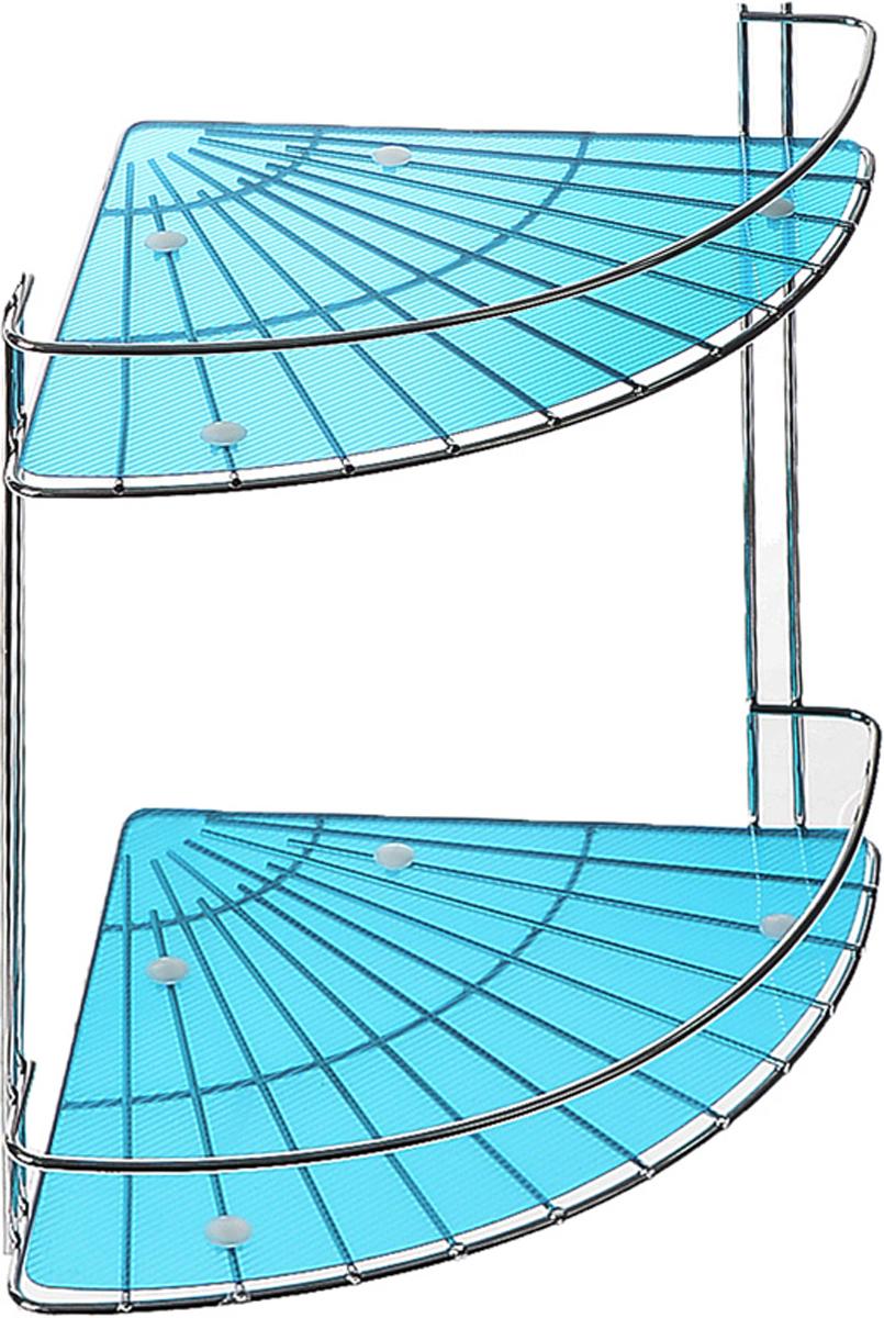 Полка подвесная Vanstore Blue Slim, 2-ярусная, угловая, высота 28 см40.42.10Подвесная полка Vanstore Blue Slim, выполненная из стали, сэкономит место в ванной комнате. Полка подвешивается с помощью саморезов (входят в комплект). Она пригодится для хранения различных принадлежностей, которые всегда будут под рукой.Благодаря компактным размерам полка впишется в интерьер вашего дома, а также позволит удобно и практично хранить предметы домашнего обихода.Размер яруса (ДхШхВ): 25 х 18 х 4,5 см.Общая высота полки: 28 см.